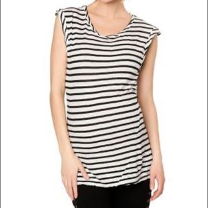 Pam & Gela Striped Torqued Seam Muscle Tee NWT B